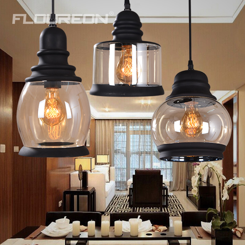 Retro Cilindrische Vintage Hanglamp Glas Shade Mason Jar Zwarte Verf Gebruik E27 Gloeilamp 110 220 V In