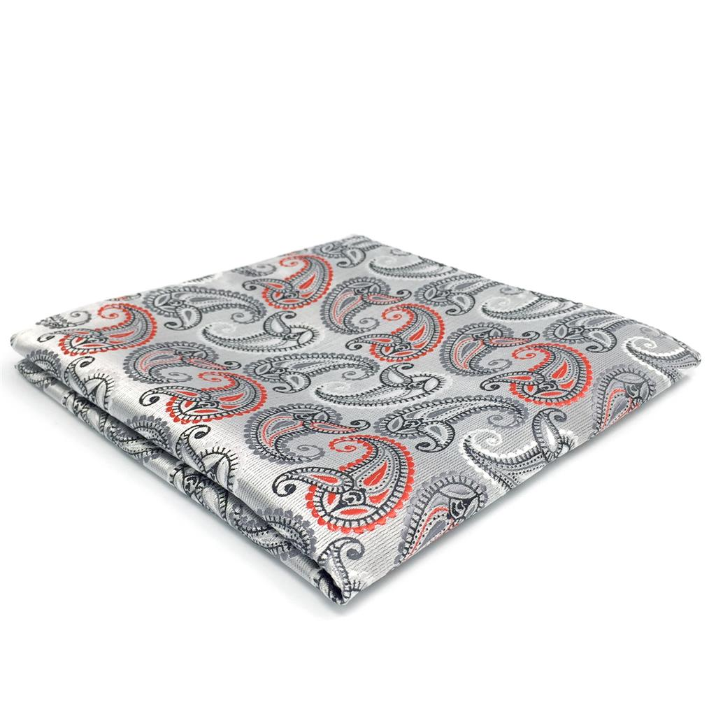 FH04 Silver Paisley Mens Pocket Square Party Wedding  Fashion Silk Accessory Hanky