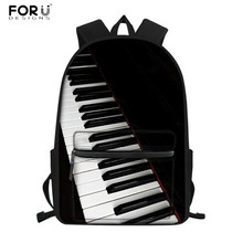 FORUDESIGNS Vintage School Bags Set Music Note Piano Keyboar