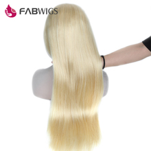 Fabwigs Silky Straight Glueless Lace Front Wig 150% Density #613 Blond Pre Plucked Human Hair Wig For Black Women Remy Hair