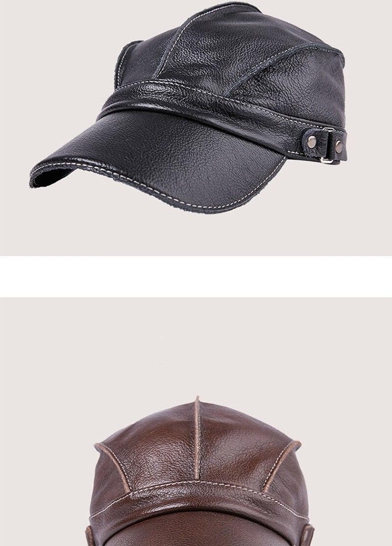 d62d236eee66 Gorra de béisbol de cuero para hombre gorras de béisbol planas sombreros de  invierno ajustable ...