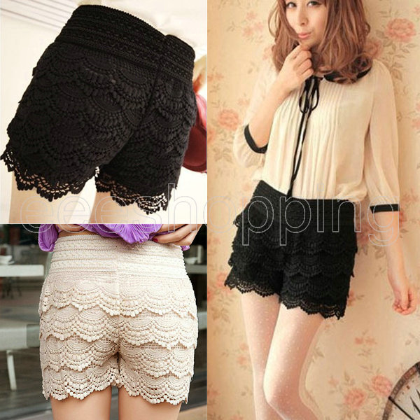 Lower Price with Lace Shorts New Fashion Womens Lady Crochet Tiered Lace Shorts Skorts Short Skirts