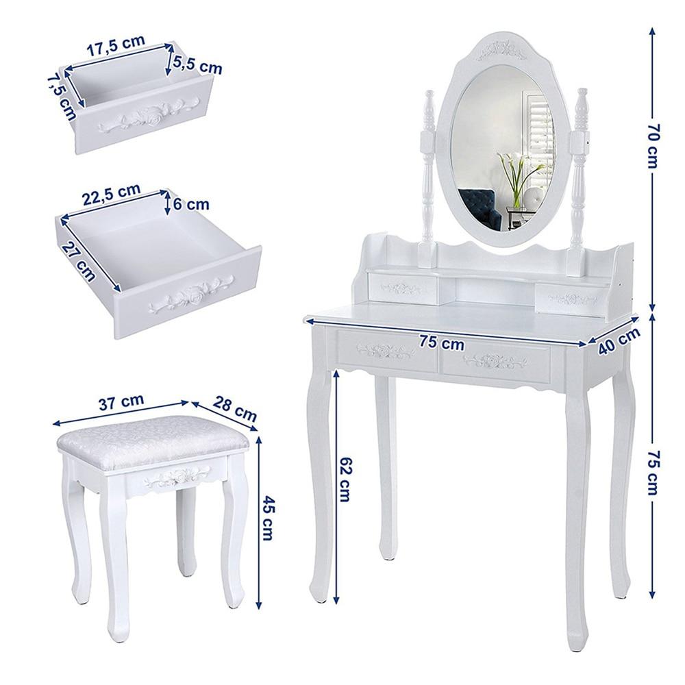 Современный европейский стол для макияжа, комод, стол с зеркалом, 4 выдвижных ящика, деревянный столик с табуретом, мебель для спальни, HWC - 6