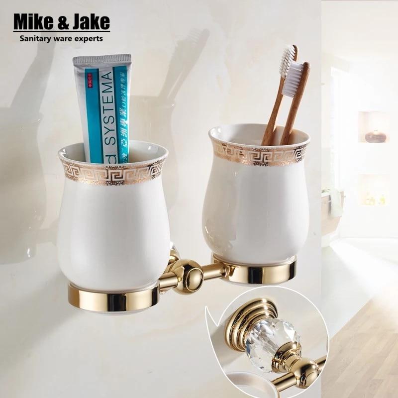 sale golden batroom crystal double cup holder bathroom rack