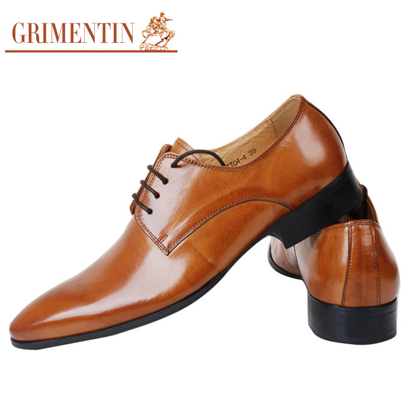 Grimentin 2017 Italian Smart Fashion Mens Dress Shoes Casual Genuine Leather For Men Office Free Shipping Worldwide