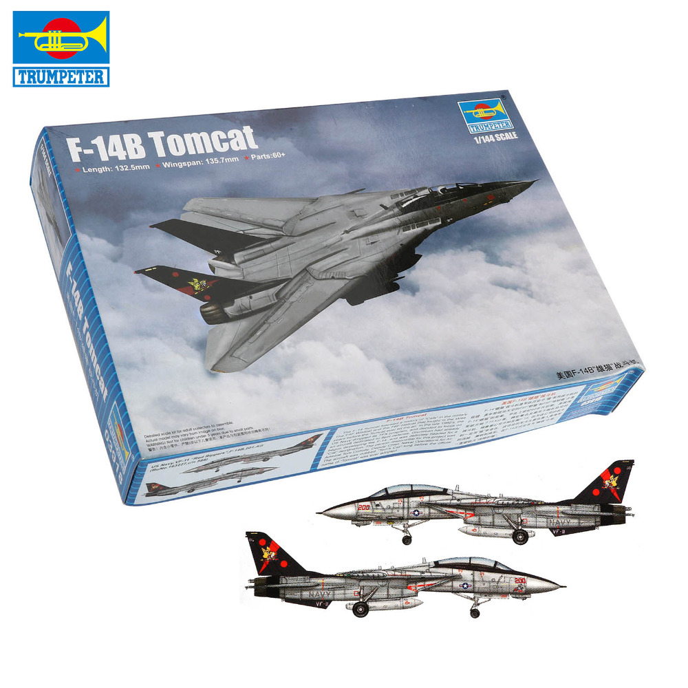 <font><b>Trumpeter</b></font> <font><b>1:144</b></font> American F-14B Tomcat Trenches Fighter F-16B/D Airplane Plane Assemble Model Toy Christmas Present image