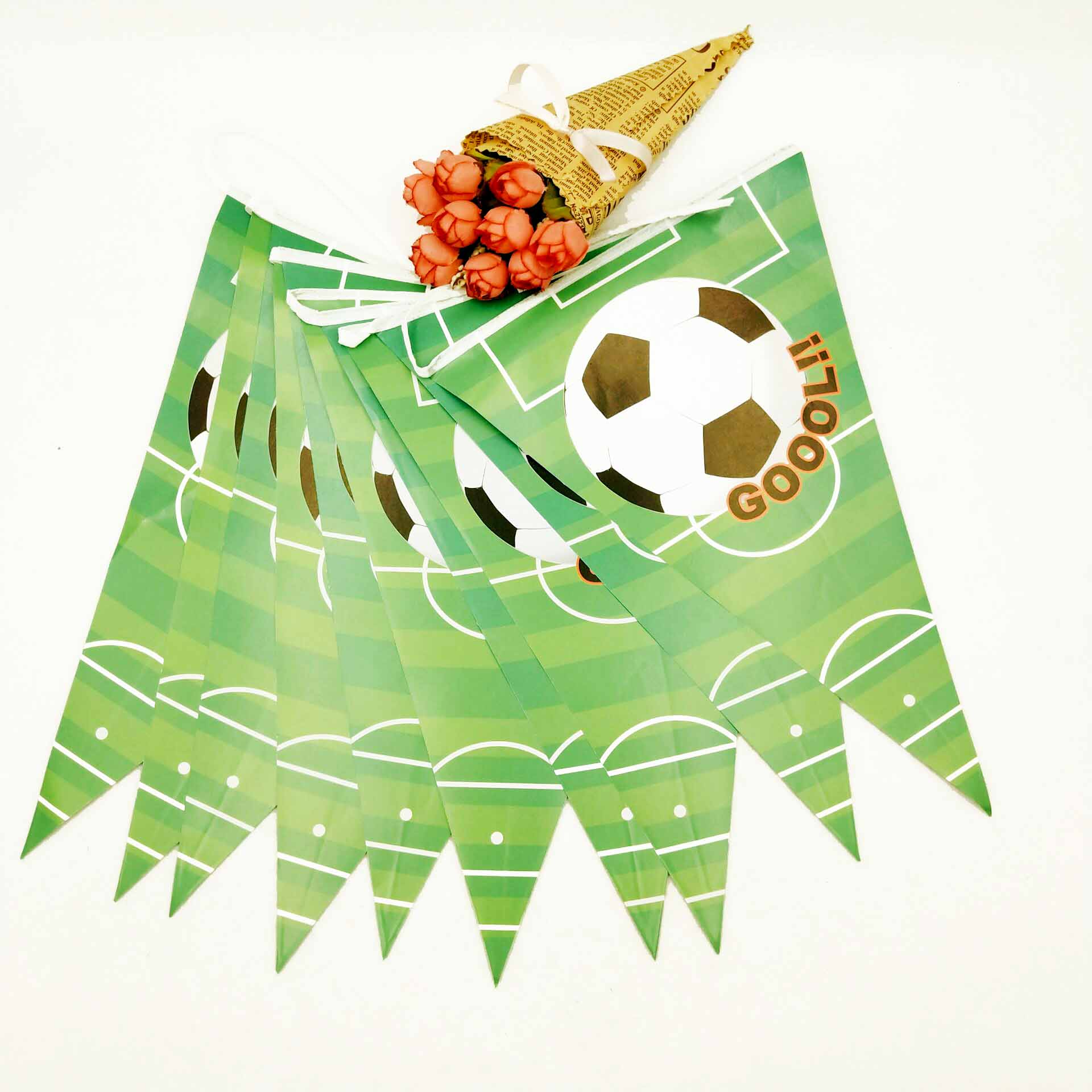 Party supplies 1set 2 5m Football theme party kids birthday party decoration paper banner bunting pennant including 10 flags in Banners Streamers Confetti from Home Garden
