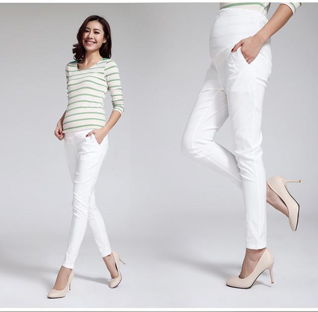 Mulheres longa calças para grávidas Leggings primavera verão estilo fino algodão fresco confortável abdômen projeto