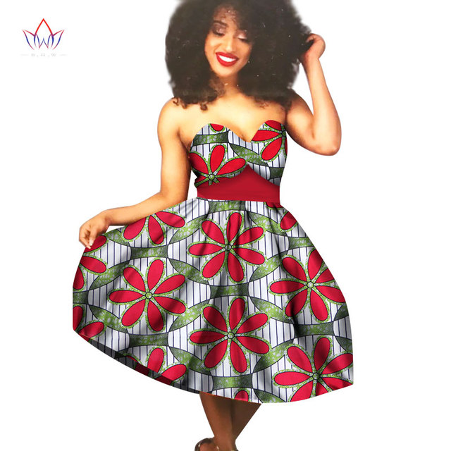 65c854956320d Summer African Women Sexy Dress Africa Print Wax Dresses Mix Size 6XL  Strapless Knee-Length Dress For Girl WY1578