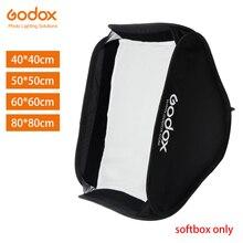 Godox 40x40 cm 50x50 cm 60x60 cm 80x80 cm 접이식 소프트 박스 스피드 라이트 플래시 소프트 박스 s 형 브래킷 용 bowens elinchrom mount