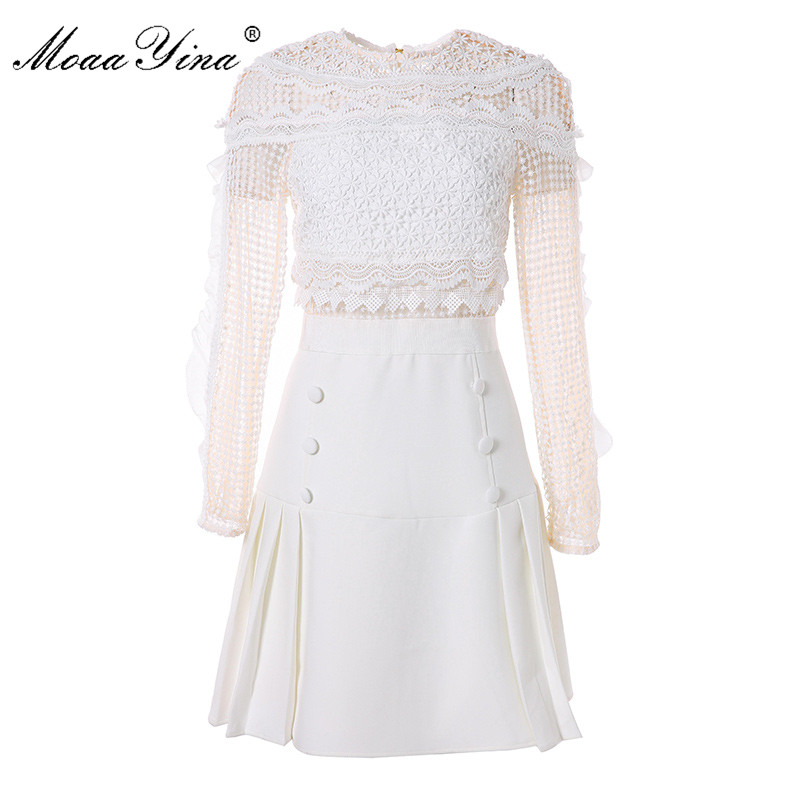 MoaaYina High Quality Fashion Designer Runway Dress Summer Women Long sleeve Ruffles Lace Hollow Out Spliced Sexy Mini Dress 2017 autumn designer runway style party lace women allover hollow out lace embroidery long sleeve dark blue mermaid dress festa