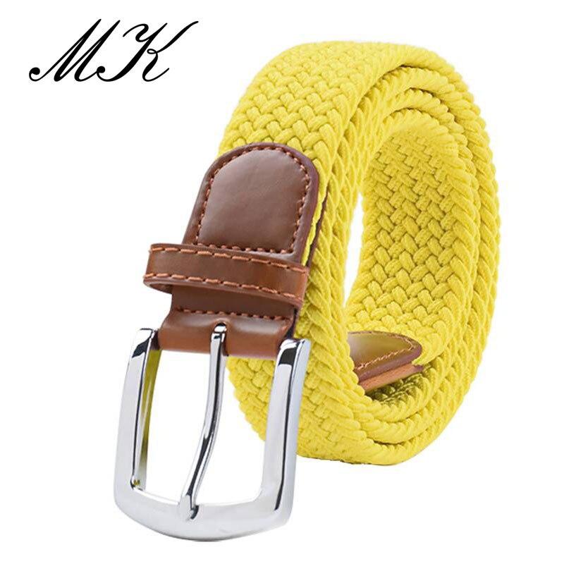 MaiKun мужские ремни с металлической пряжкой булавки эластичный мужской ремень армейский тактический ремень для мужчин - Цвет: Yellow