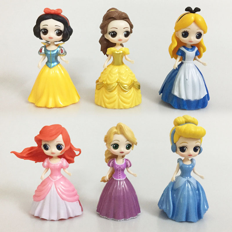 Catoon anime Magic Clip Dolls Dress Magiclip Princess Cinderella mermaid Snow white Alice PVC action Figure Toys children Gifts 8 pcs set queen princess cinderella elsa anna little mermaid snow white alice princess pvc figures toys children gifts