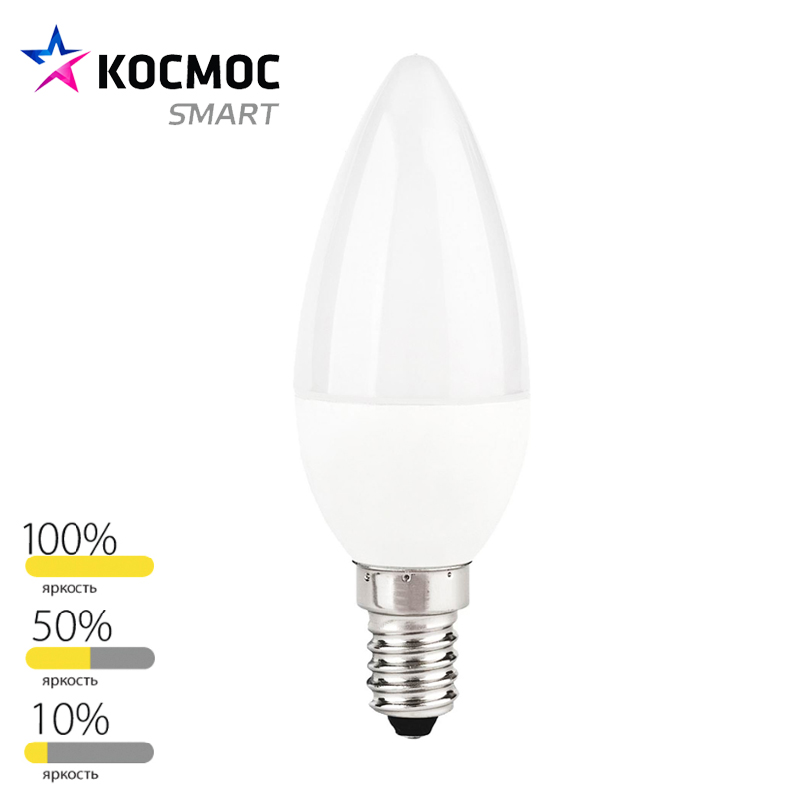 led smart lamp bulb step dimmable candle e14 c37 7w shipping from russia 220v 3000k 4500k 1 year