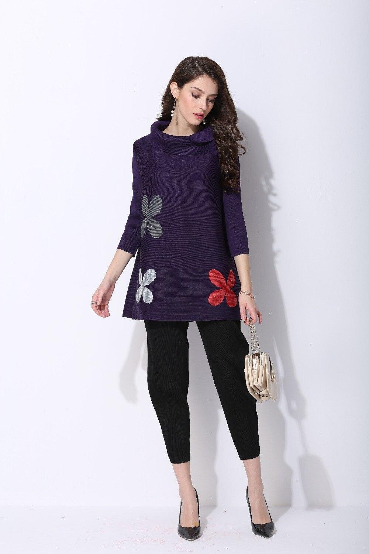 Imprimer Plissé Nouveau Style Manches À Longues shirt Fleur T xaqX6q41gw