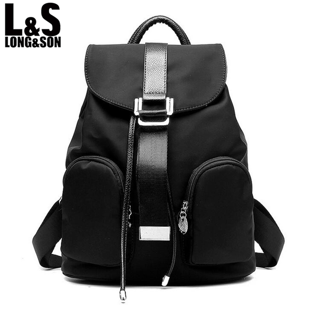 a65ee0c87a Long Song Famous Brand Backpack Women Backpacks Feminina School Bags for Teenagers  Black PU Leather Women s Back Pack WB061