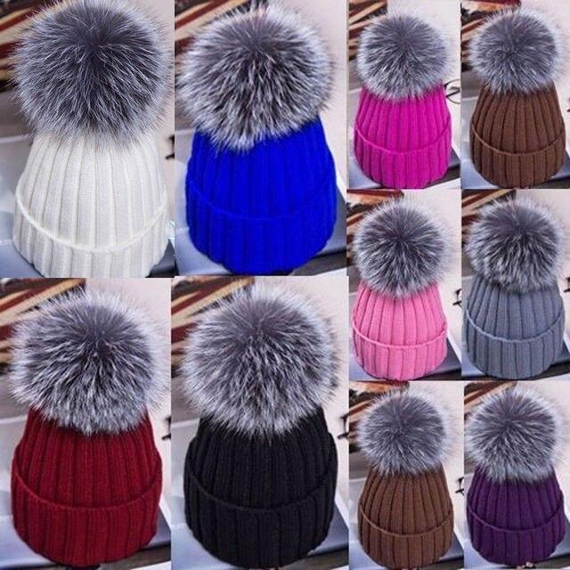 Thefound Hot Large Ball Womens Hat Winter Fox 15cm Fur Pom Pom Knit Beanie  Ski Cap Bobble 24cee52a87b2