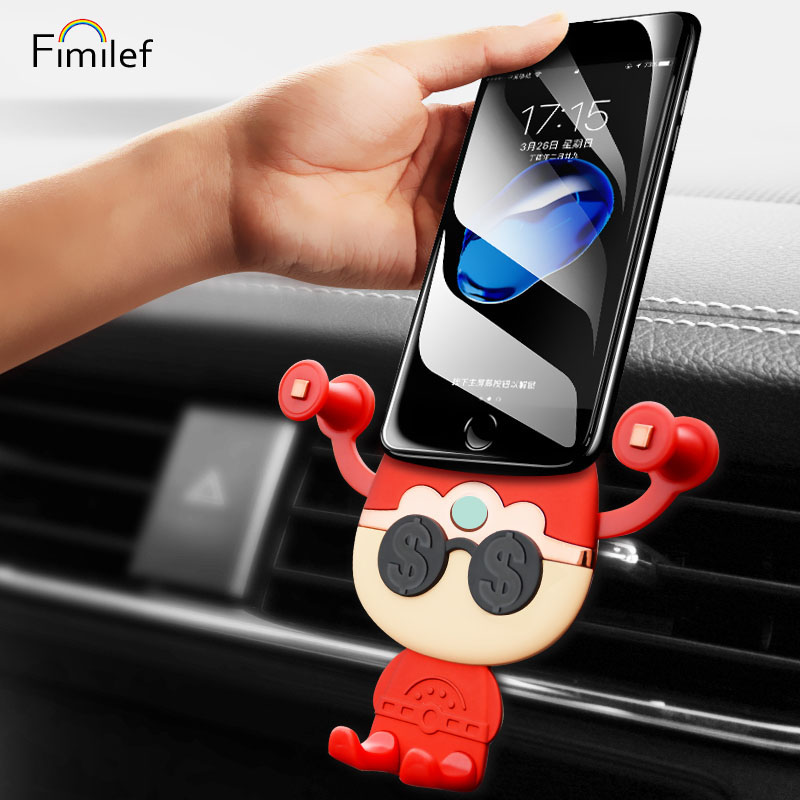 Fimilef Gravity Reaction Car Holder Snap-type Air Vent Monut GPS 360 Rotate Cute Car Phone Holder Stand For iPhone X 7 8 Plus