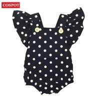 COSPOT Baby Girls Dot Romper Girl Summer Ruffle Sleeve Romper Toddler Fashion Jumpsuit Newborn Jumper Girls Clothes 2019 New D30