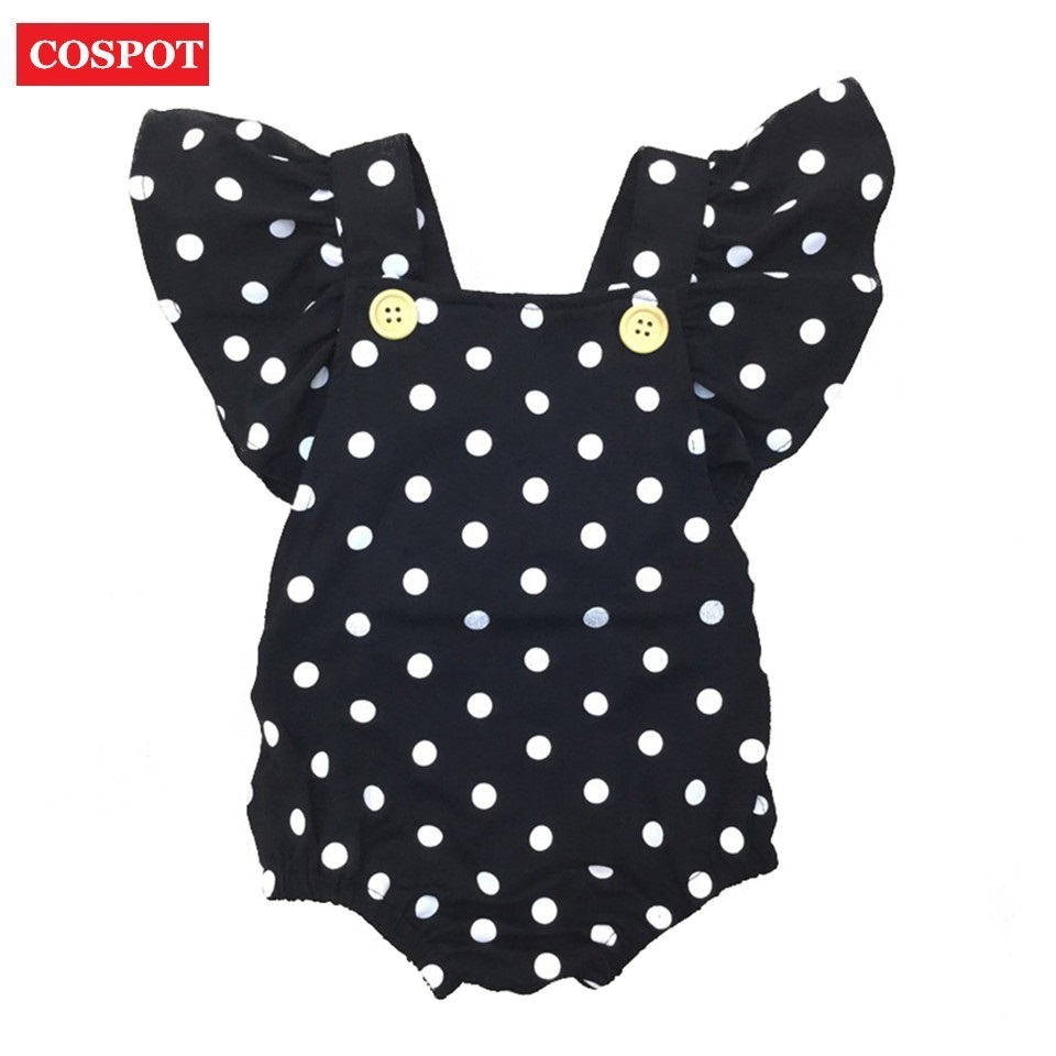 COSPOT Baby Girls Dot Rompers Girl Summer Cotton Ruffle Sleeve Romper Toddler Fashion Jumpsuit Newborn Girl's Cotton Jumper D30 kids ruffle tie neck striped romper