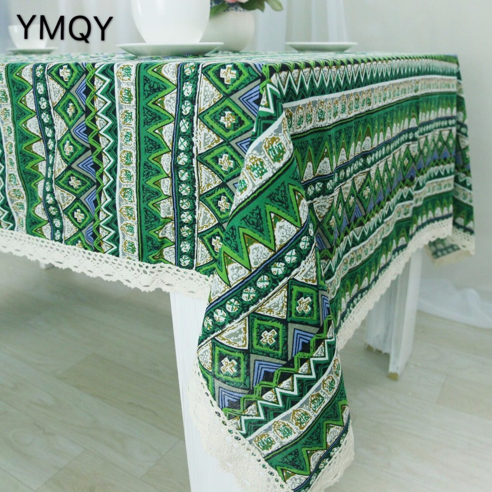 High Quality Multi Purpose Linen Green Triangle With Lace Tablecloths And Table  Cloth Tablecloth Table Covers For Party Home