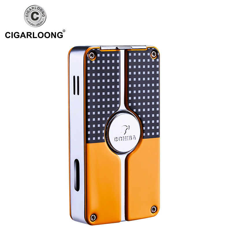 COHIBA Metal Middle Button Cigar Lighter Windproof 3 Blue Jet Flame Cigarette Torch Lighters Butane Gas Lighter RefillableCOB 58