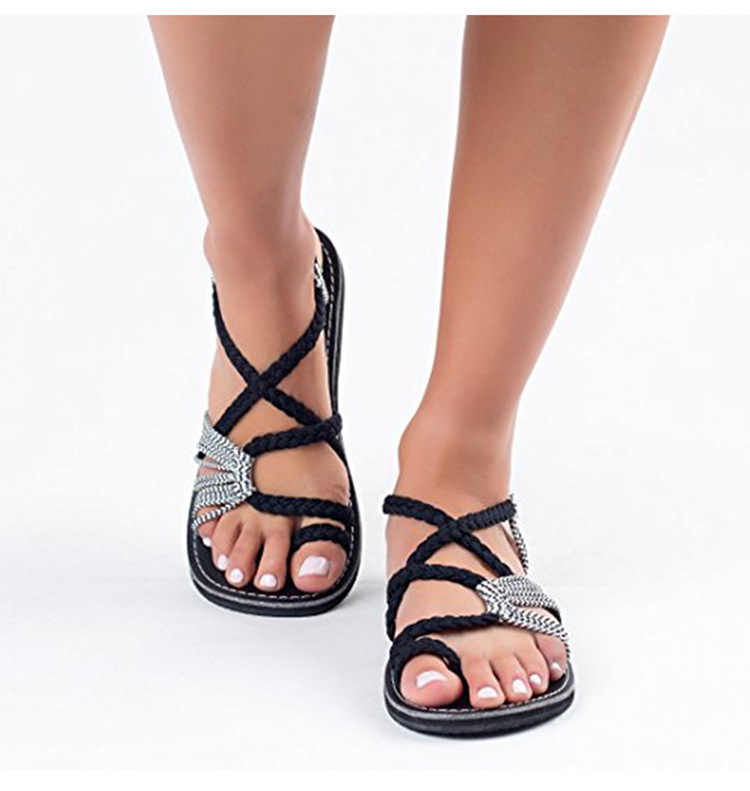 WENYUJH women sandals flat casual Fashion Sandals Summer Shoes Female Flat Sandals Rome Cross Tied Sandals Shoes 2019