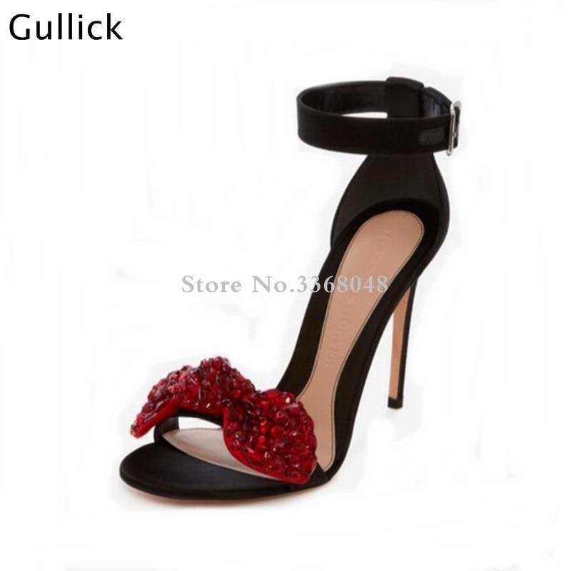 Haute Rouge Sandales Date Grand Parti Blanc 7 Femme 9 Peep 9 Décor Boucle Noeud Cm Toe Ou Talons Papillon Slik Cm 7 Cristal Chaussures Cm q644xA