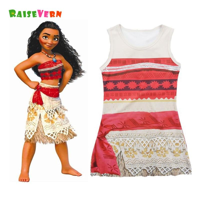 أطفال moana نمط فتاة فساتين شعبية - ملابس الأطفال