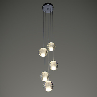 Heads Crystal Ball Modern LED Pendant Light Fixtures Dinning Room - 5 pendant light fixture