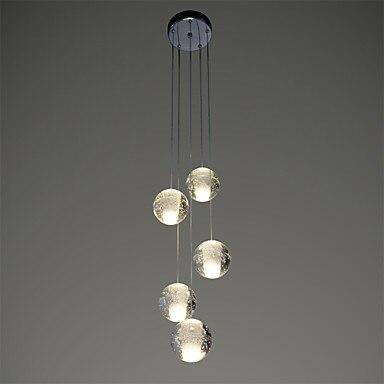 5 Heads Crystal Ball Modern LED Pendant Light Fixtures Dinning Room Hanging Lamp Indoor Lighting Luminaire