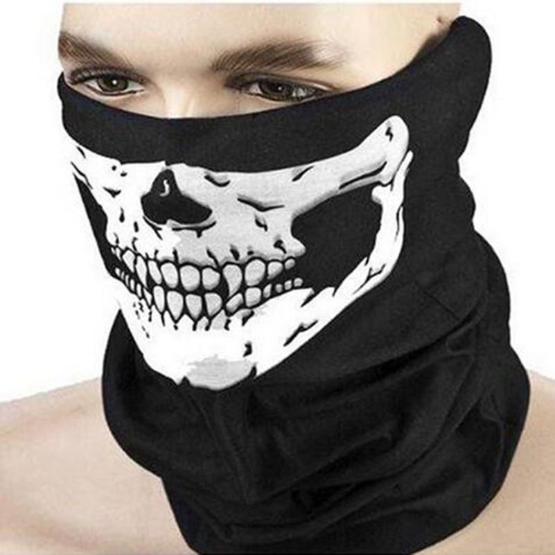 New Halloween Skull Skeleton Outdoor Motorcycle Bicycle Multi function Headwear Hat Scarf Half Face Mask Cap Neck Ghost Scarf head cover outdoor mask with skull head motorcycle bicycle riding climbing uv protect full face ghost skull mask skeleton hats
