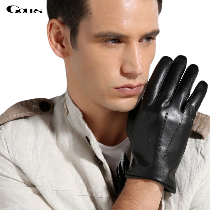 Gours Hot Gloves 2018 Winter Fashion New Men's Genuine Leather Gloves Goatskin Classic Wrist Mittens Black Brown Warm GSM022