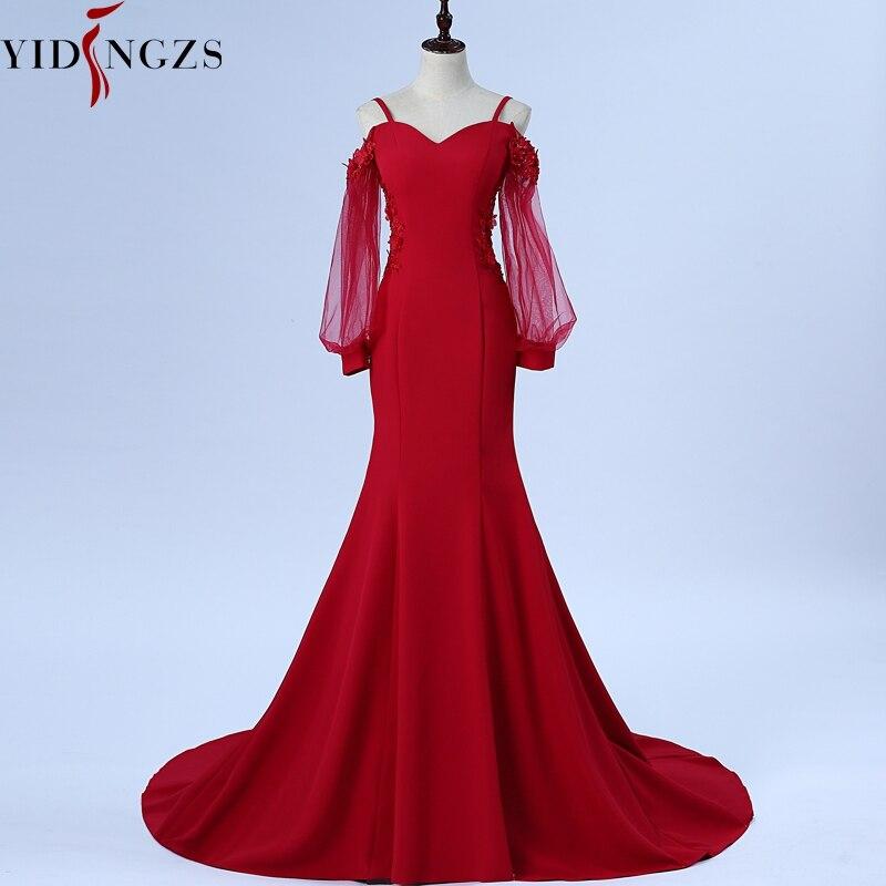 YIDINGZS Appliques Beaded Robe De Soiree Mermaid Burgundy Long Evening Dress Backless Party Vestido De Festa