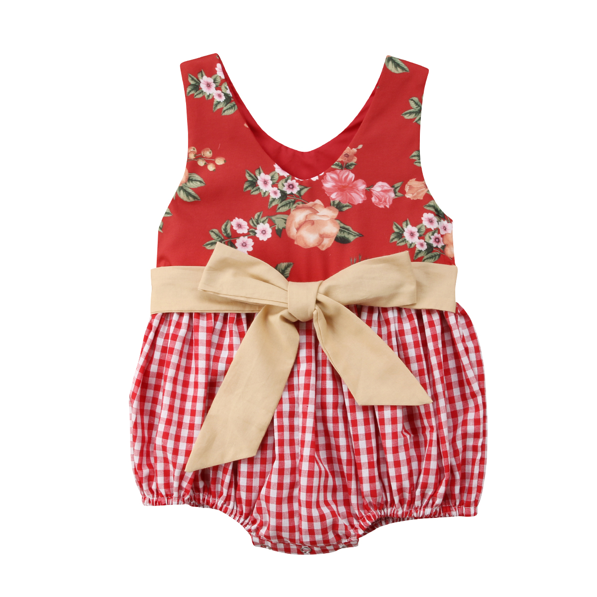 Summer Toddler Kid Baby Girl Floral Bownot Romper Patchwork Plaid Jumpsuit Outfit
