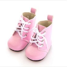 Fit 18 inch 43cm Doll Shoes Shoelaces Born New Baby Doll Accessories BJD White Black Red Pink Lace Boots For Baby Birthday Gift цены онлайн