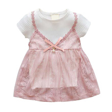 New Summer Fashion Cute Baby Girl Princess Lace Soft Short-Sleeved Tutu Dress Fake 2 Piece Beach Skirt