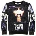 American fashion men's hoodies print Rap singer 2pac Tupac Hip hop 3d sweatshirts THUG LIFE casual hoodies