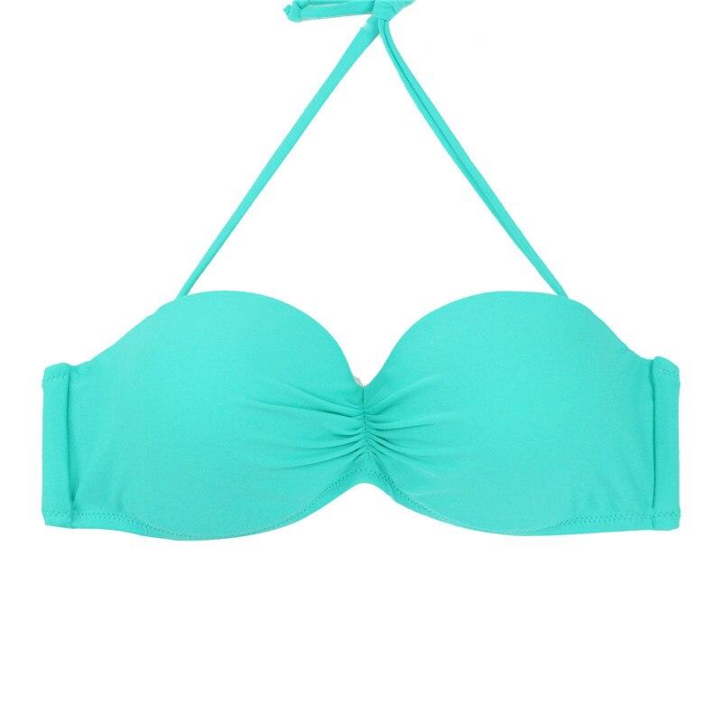 M&M Nők Push Up Bandeaus Biniki felső szilárd bikini halter Ruched - Sportruházat és sportolási kiegészítők - Fénykép 5