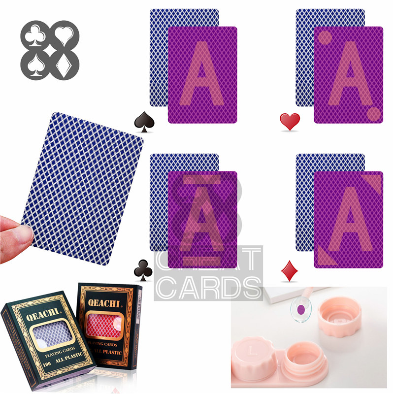 Invisible Marked Cards Trick QEACHI 406 Poker Plastic Playing Cards for Contact Lenses Magic Poker Invisible Marker Cheat Game
