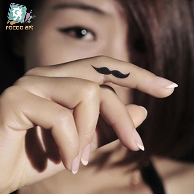 Us 071 20 Offhc 29 Produkty Erotyczne Wodoodporny Fałszywy Tatuaż Harajuku Czarny Zabawny Wąsy Projekt Tymczasowy Tatuaż Naklejki Finger Flash