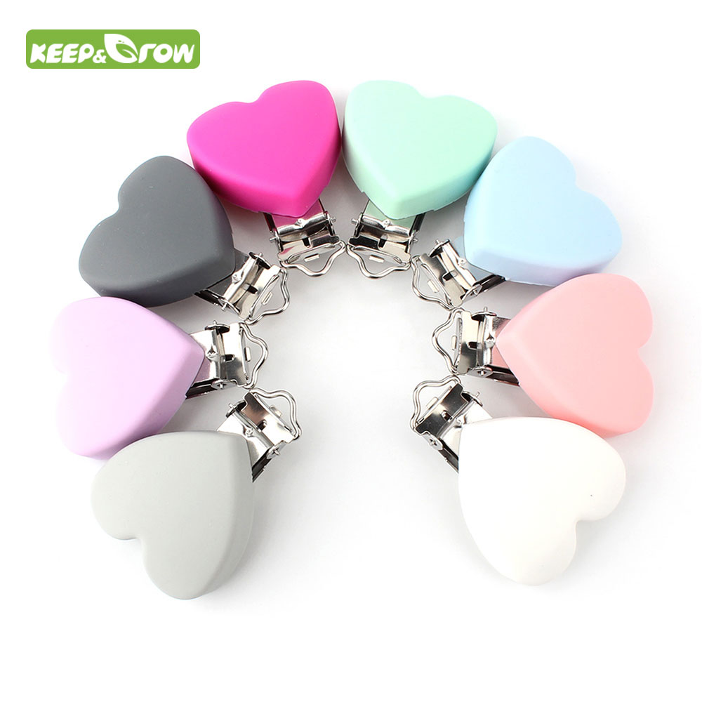 KEEP GROW 100Pc Heart Shaped Pacifier Clip Silicone Baby Teether Holders Non toxic Nipple Clasps DIY