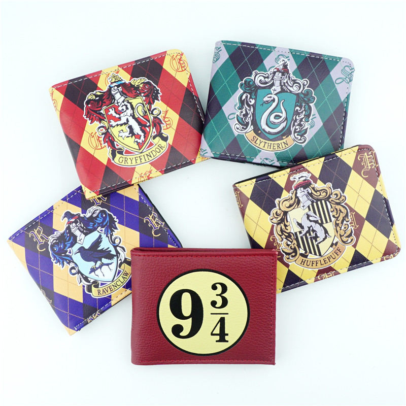 Harri Potter Hogwarts School Wallet Gryffindor Hufflepuff Ravenclaw Slytherin Short Bifold Wallets Student Purse Cosplay Purses cotton hogwarts harri cosplay potter toys college gryffindor slytherin baseball hat summer cap hip hop magic hats toys for child