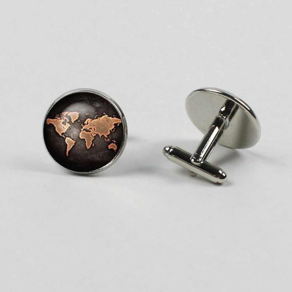 Yeni 1 Çift Kol Düğmeleri Vintage Dünya Haritası erkek ve kadın Kol Düğmeleri Vintage Bronz Kol Düğmeleri Takı