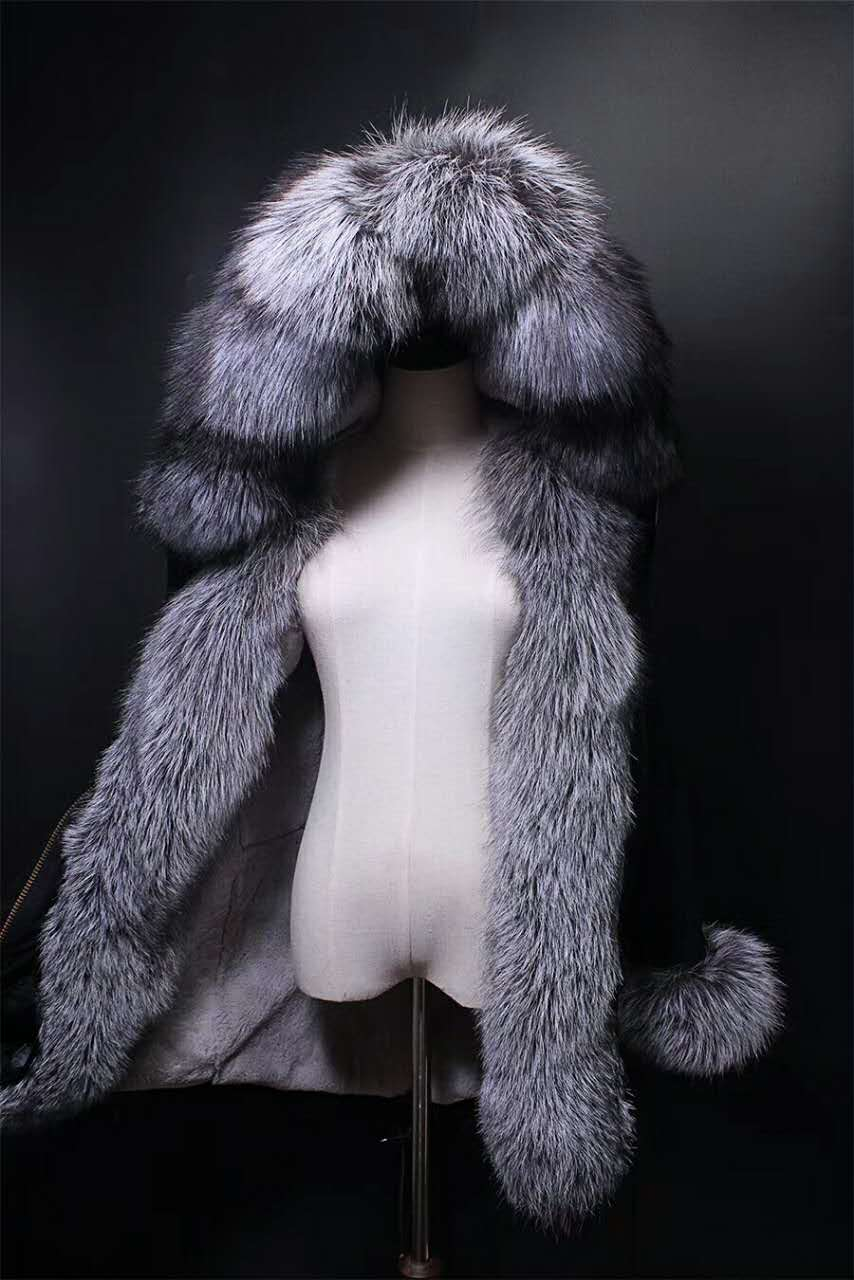 2017 winter new MEN'S  fashion luxury silver fox fur collar  rex rabbit  lining coat nick garment middle long parka hoodies 2017 winter new clothes to overcome the coat of women in the long reed rabbit hair fur fur coat fox raccoon fur collar