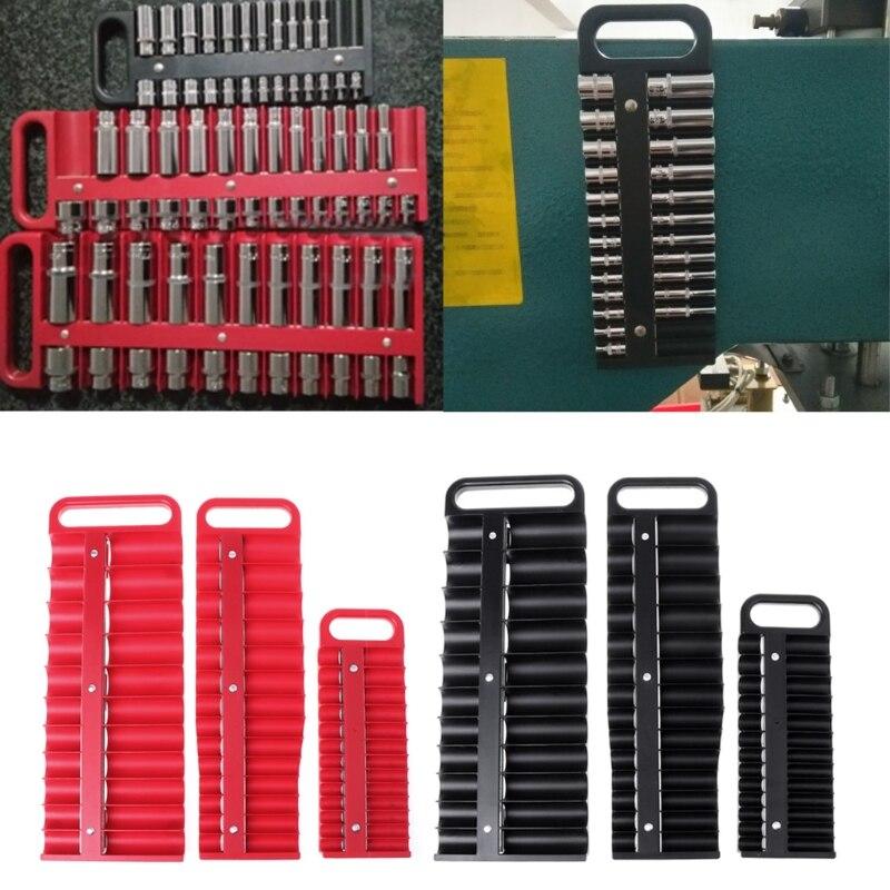 Magnetic Socket Holder Tray Drive 26 Sockets Metric Organizer Rail Rack Toolbox -C90A