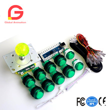 Joystick Green Ball Zero Delay USB Encoder Board 2/4/8 Way Classic Joystick 8 x 30mm Action Push Buttons 2 x 24mm Select Button