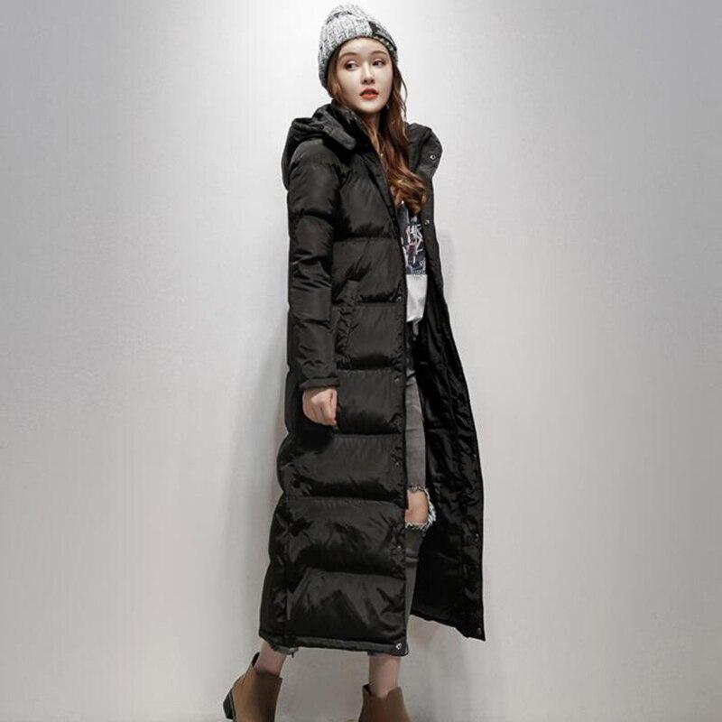 Winter Jacket Women 90% White Duck   Down     Coat   2018 Slim Thicken Parka Female X-Long   Down   Jacket Hooded black   Coat   Mujer Invierno
