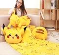 1pc 150cm funny Pokemon Pikachu sleepy soft plush coral fleece rest office cushion + blanket stuffed toy romantic gift