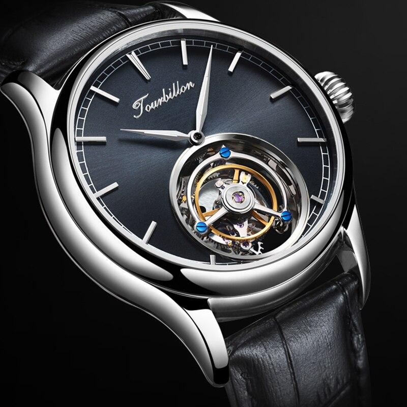 Relógio turbilhão GUANQIN Originais Esqueleto relógio mecânico Safira Mens Relógios Top Marca de Luxo relógio homens Relogio masculino